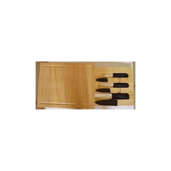 Planche en bois avec tiroir 3 couteaux c ramique pradel - Rangement ustensiles tiroir ...