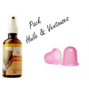 Pack Huile de massage minceur Bio +  Ventouse anti-cellulite