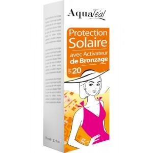 Lait protection solaire avec activateur de bronzage SPF20